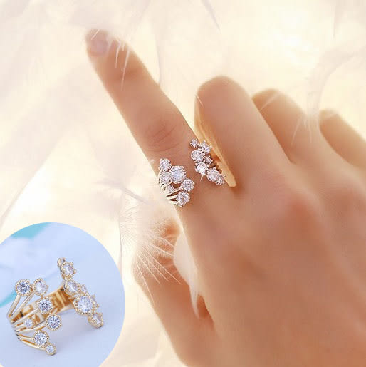 S925銀心花綻放鋯石戒指開口戒指 18K真金 (0616)