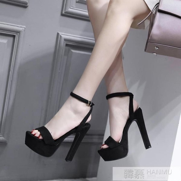 涼鞋女新款恨天高14cm超高跟鞋夜場粗跟防水台15情趣性感夜店女13 韓慕精品