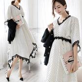 韓版高端氣質孕婦連衣裙職業裝蕾絲淑女小禮服長裙夏 優家小鋪