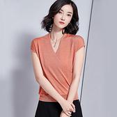 短袖針織衫-亮絲V領寬鬆薄款女T恤5色73xi9【巴黎精品】