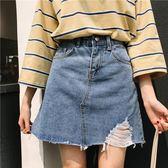夏季加大碼高腰顯瘦破洞牛仔裙女裝半身裙A字短裙子 【八點半時尚館】