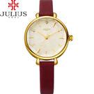 JULIUS 聚利時 花漾時光立體鏡面皮錶帶腕錶-紅色/32mm 【JA-886B】