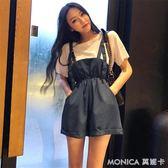 夏裝精神女裝社會套裝短袖t恤 背帶闊腿短褲子時髦兩件套 莫妮卡小屋