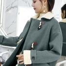 【限時下殺89折】短版大衣 牛角扣大衣女妮子呢子加厚冬韓國學生中長版學院風羊角扣毛呢外套