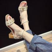 粗跟涼鞋港味涼鞋新款女夏季露趾一字扣帶韓版羅馬鞋百搭粗跟高跟鞋潮【1件免運好康八折】