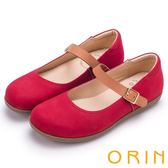ORIN 渡假休閒必備 牛皮素面腳背帶休閒平底鞋-紅色