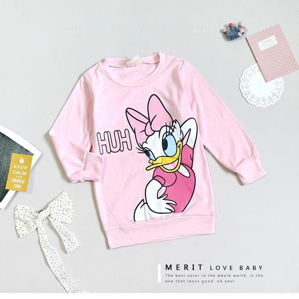 小童 甜美黛西粉嫩長袖縮口上衣 親子裝 韓版 中大童 女童 迪士尼 長袖T恤 粉色 童裝