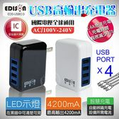 【樂悠悠生活館】EDISON USB極速充電器 2.4A急速充電 4200mA 充電器 USB充電 手機充電 (EDS-USB03)