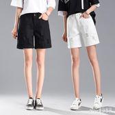 中大尺碼五分褲 牛仔短褲高腰鬆緊腰顯瘦卷邊韓版五分褲大碼寬鬆 LJ2251『Pink領袖衣社』