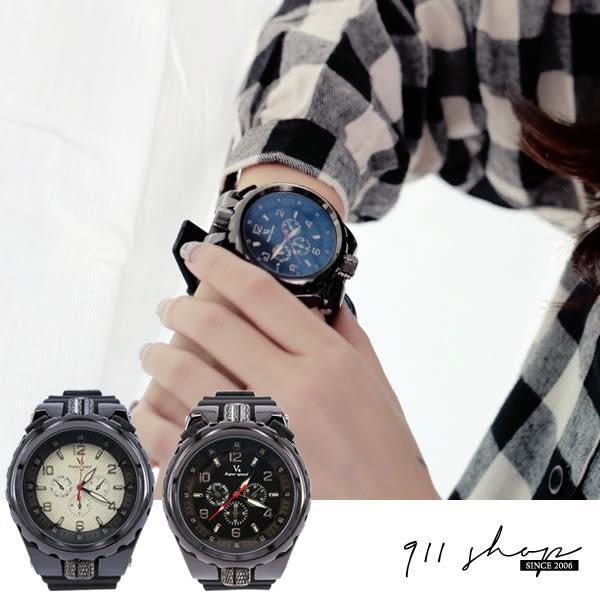 Wreath.V6品牌。金屬工業風大轉鈕凹面矽膠大錶手錶【ta455】*911 SHOP*
