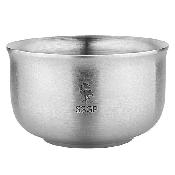 PUSH!餐具304不鏽鋼碗防摔防燙飯碗雙層加厚泡麵碗湯碗(14.5CM)E108-2