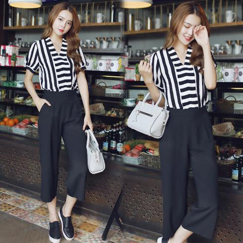 【韓國K.W.】(現貨在台) 春夏時尚黑白條紋兩件套裝