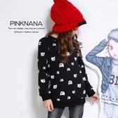 PINKNANA童裝 兒童黑色貓咪厚刷保暖長袖上衣 32193