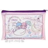 〔小禮堂〕雙子星 防水透明方形扁平化妝包《粉紫.天鵝》工具袋.收納袋.銅板小物 4513750-71663