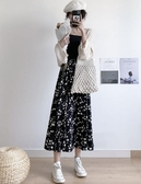 小雛菊半身裙女夏季高腰a字顯瘦雪紡中長款大碼胖mm碎花長裙