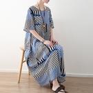 洋裝-長款寬版時尚新款不對稱條紋女連身裙73sm32【巴黎精品】