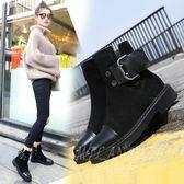 真皮平底馬丁靴 英倫風平跟短靴 粗跟切爾西靴 女靴