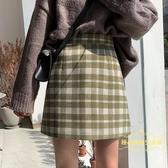 毛呢半身裙 超火ins半身裙女秋冬新款chic復古格子短裙高腰顯瘦毛呢A字裙