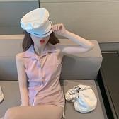 网红设计感小众粉色法式无袖衬衫女甜美日系气质衬衣宽松翻领上衣