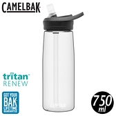 【CamelBak 美國 750ml eddy+多水吸管水瓶RENEW《晶透白》】CB2465101075/水壺