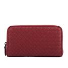 【BOTTEGA VENETA】小羊皮編織ㄇ型拉鍊長夾(紅色) 518389 V001N 6407