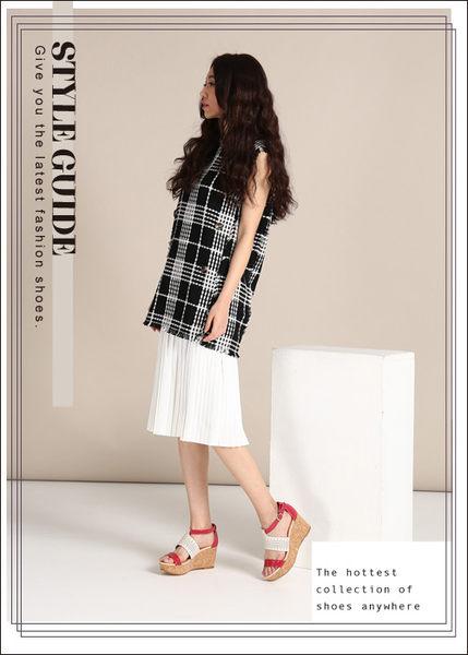 effie 摩登美型 羊皮拼接配色飾扣楔型涼鞋  桃粉紅