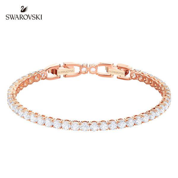 施華洛世奇 Tennis 玫金色精緻優雅白鑽手鏈