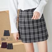 褲裙 磨毛格紋配色後拉鍊A字短裙S-L號-BAi白媽媽【195912】
