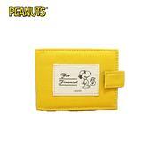 黃色款【日本正版】史努比 帆布 卡片夾 可放24張 卡片收納夾 Snoopy PEANUTS - 302071