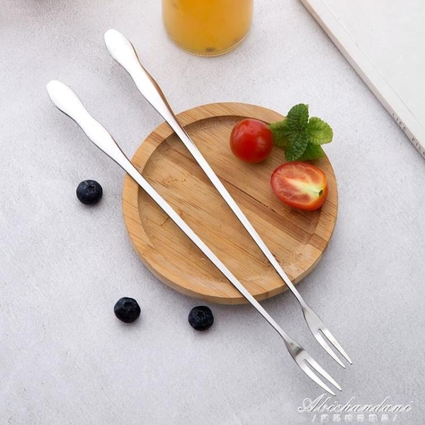 10支裝 不銹鋼水果叉兒童水果簽攪拌棒創意家用吃水果甜品的小叉子 黛尼時尚精品