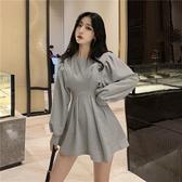 出清388 韓國風收腰顯瘦時尚圓領皺褶燈籠袖長袖洋裝