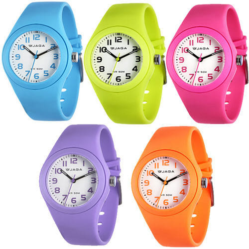 [EYE DC] JAGA 捷卡 AQ912 馬卡龍螢光系列 指針錶 防水(粉/淺藍/黃/紫/橙色) 五色 錶殼直徑37mm