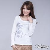 Victoria 貼鑽骷髏長袖T-女-寶藍/白