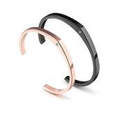 【5折超值價】316L西德鈦鋼最新款時尚精美簡約鑲鑽開口造型情侶款鈦鋼手環