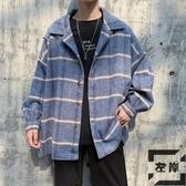 格子毛呢外套男春秋季潮流呢子大衣帥氣寬鬆情侶夾克【左岸男裝】