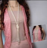 經典 百搭 時尚 韓版 珍珠 多層 打結 毛衣鍊 長項鍊 女 長款