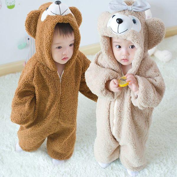 18秋冬新品超萌迪士童裝達菲熊兒童毛毛連體衣嬰兒爬服家居服睡衣