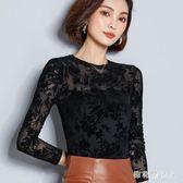 長袖蕾絲衫女新款打底衫薄款性感網紗小衫修身蕾絲衫女士上衣 QX747 【棉花糖伊人】