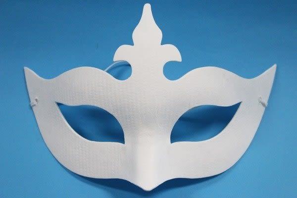 十字半罩面具 彩繪面具 空白面具 紙漿面具 DIY面具(附鬆緊帶)/一個入{定40}