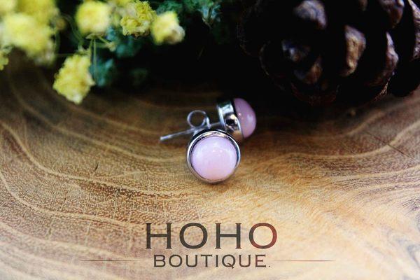 HOHOBOUTIQUE 手作925銀粉紅蛋白石耳環(Pink Opal)