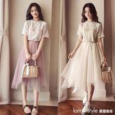 套裝  夏季洋裝女2018新款韓版短袖上衣兩件套網紗超仙冷淡風套裝裙子