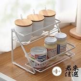 廚房雙層調味罐收納架調料瓶置物架臺面調料架【君來佳選】