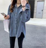 百搭 上衣 中大尺碼 M-4XL/7380新款韓版寬鬆bf拼接連帽條紋襯衫女長袖上衣休閒襯衣外套NE03-C韓依紡