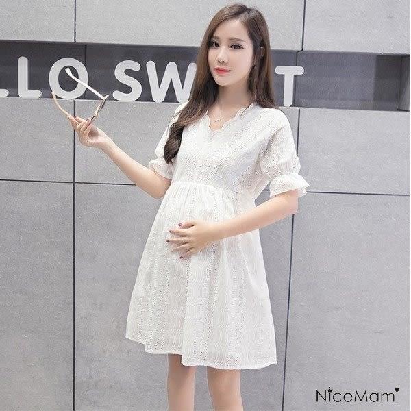 *漂亮小媽咪*唯美氛圍 布蕾絲 泡泡 短袖 孕婦裙 孕婦裝 娃娃裝 D2029SN