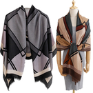 幾何大格子棉質披肩 四季通用薄款圍巾 2色【Q19007】
