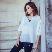 【MACACA】純棉輕盈V罩衫-BSE2292(白)(瑜伽/慢跑/健身/輕運動)
