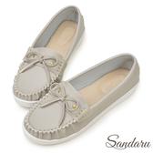訂製鞋 MIT蝶結車縫白真皮底莫卡辛鞋-艾莉莎ALISA【24618853】灰色下單區