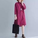 中大尺碼洋裝 文藝復古胖mm大尺碼女裝秋裝中長版翻領繫帶寬鬆顯瘦棉麻襯衫洋裝