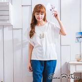 【Tiara Tiara】激安 繪本風小瓶短袖荷葉袖棉T(白/黑)
