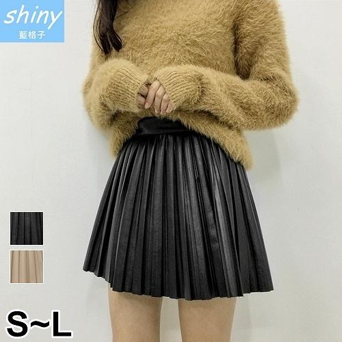 【V2211】shiny藍格子-完美顯瘦.高腰百褶PU皮褲裙